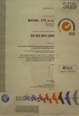 certifikát EN ISO 9001:2008 Magna– VTZ