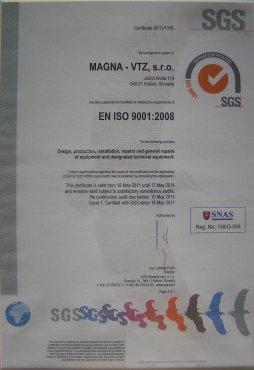 certificate EN ISO 9001:2008 Magna– VTZ